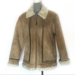 Coldwater Creek Brown Embroider Shearling Jacket M